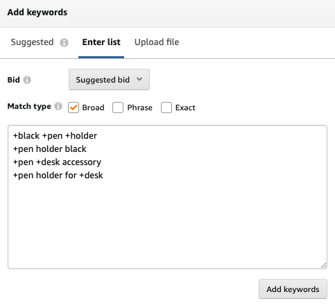 Modified Broad Match Keyword Examples