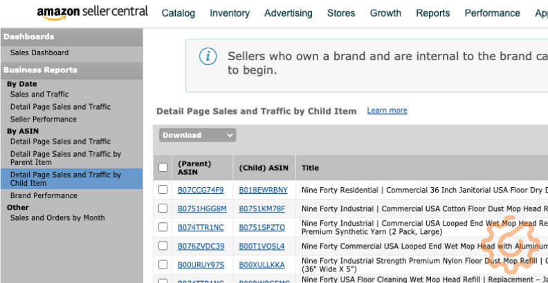 Amazon Detail Page Sales and Traffic by Child ASIN